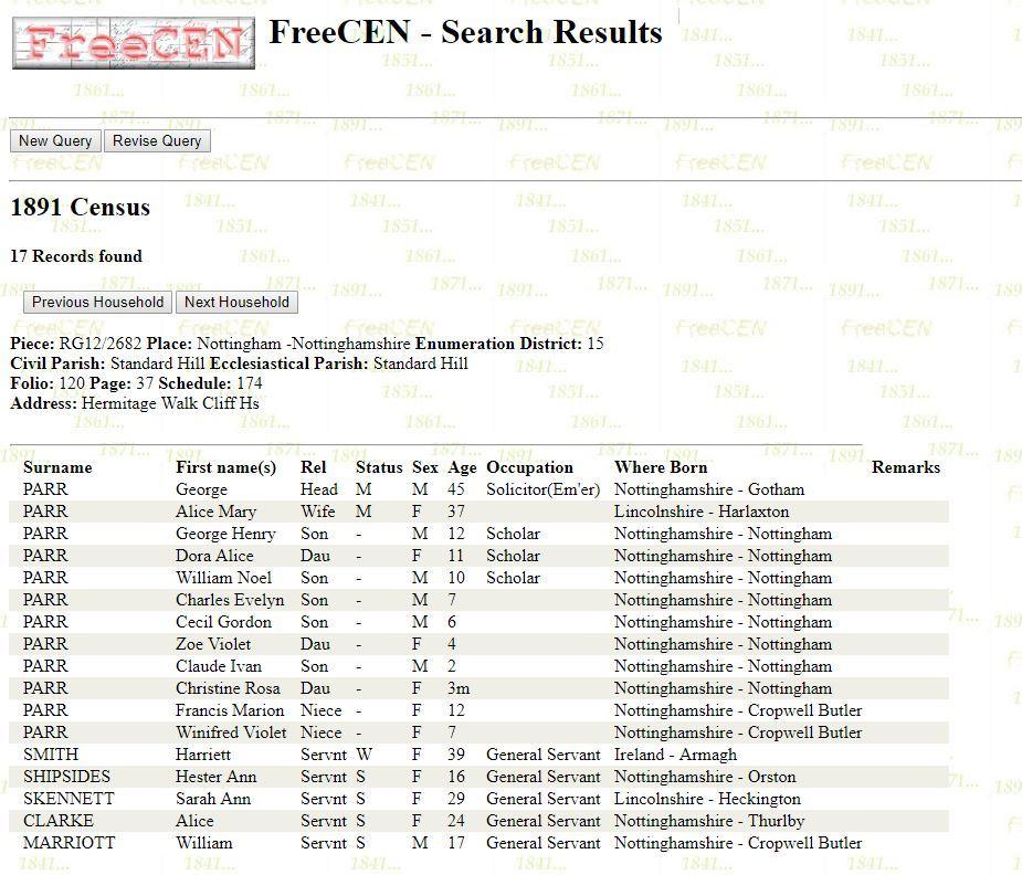 Screenshot of transcription of a household from FreeCEN website
