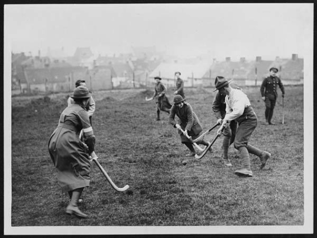 Members of the Women's Army Auxiliary Corps, playing hockey, France