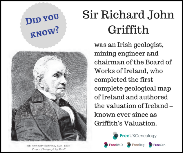 Sir Richard John Griffith was an Irish geologist, mining engineer and chairman of the Board of Works of Ireland, who completed the first complete geological map of Ireland and authored the valuation of Ireland – known ever since as Griffith's Valuation.